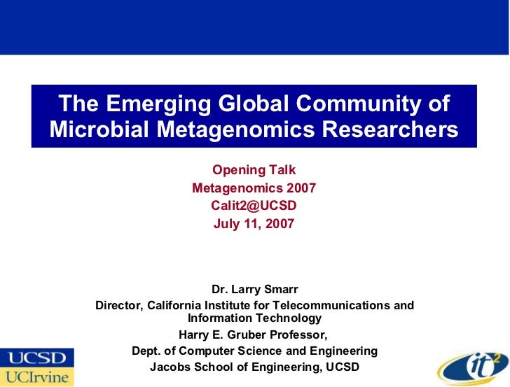 The Emerging Global Community of Microbial Metagenomics Researchers Opening Talk Metagenomics 2007 [email_address] July 11...