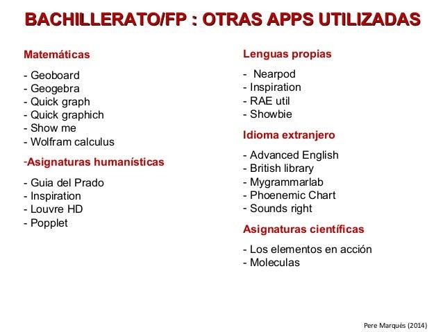 BACHILLERATO/FP : OTRAS AAPPPPSS UUTTIILLIIZZAADDAASS  Matemáticas  - Geoboard  - Geogebra  - Quick graph  - Quick graphic...