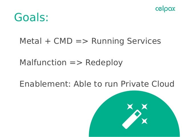 Goals: Metal + CMD => Running Services Malfunction => Redeploy Enablement: Able to run Private Cloud