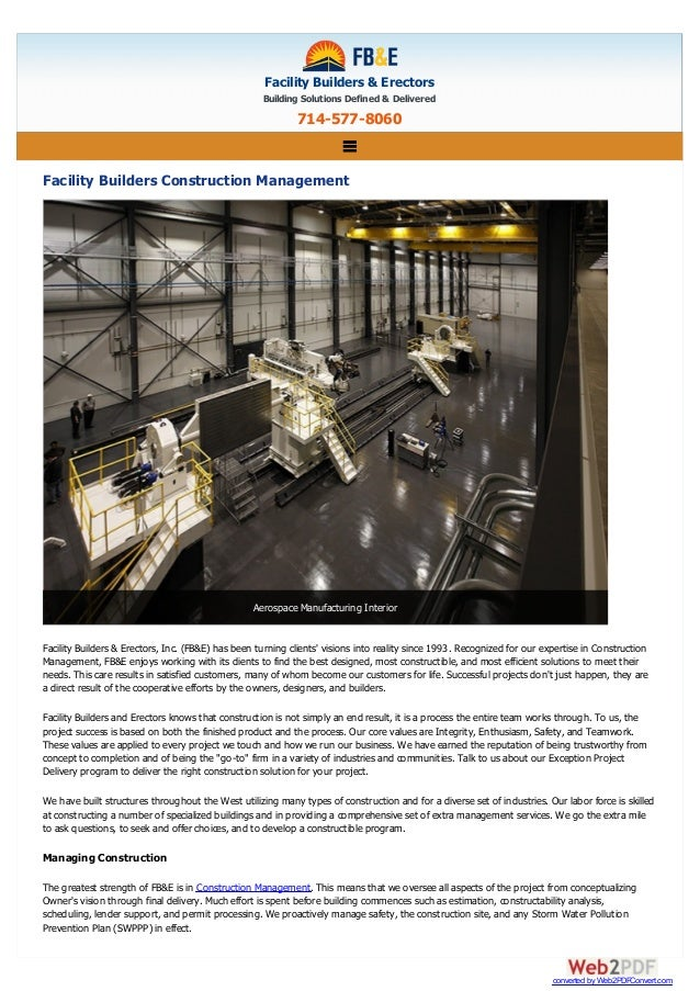 Facility Builders & Erectors Building Solutions Defined & Delivered 714-577-8060 Facility Builders Construction Management...