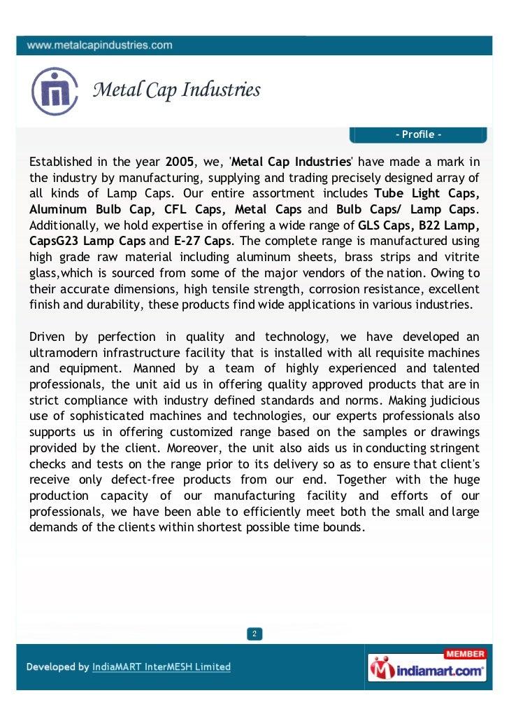 Metal Cap Industries, Ghaziabad, Light Caps Slide 2