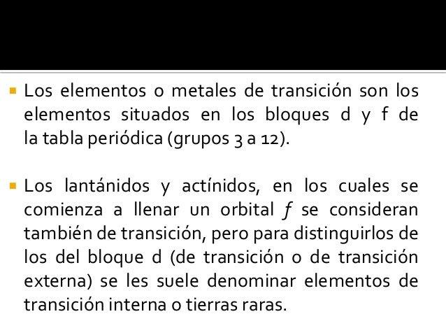 4 elementos de transicin - Tabla Periodica Metales De Transicion Interna