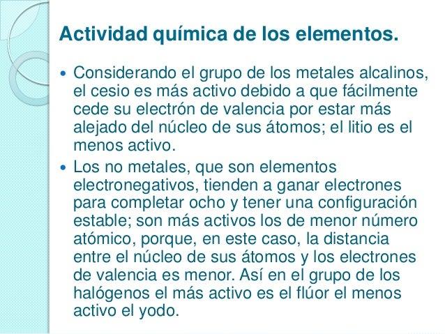 descripcin de los grupos del sistema peridico 12 actividad qumica de los elementos - Tabla Periodica De Los Elementos Quimicos Metales No Metales Y Gases