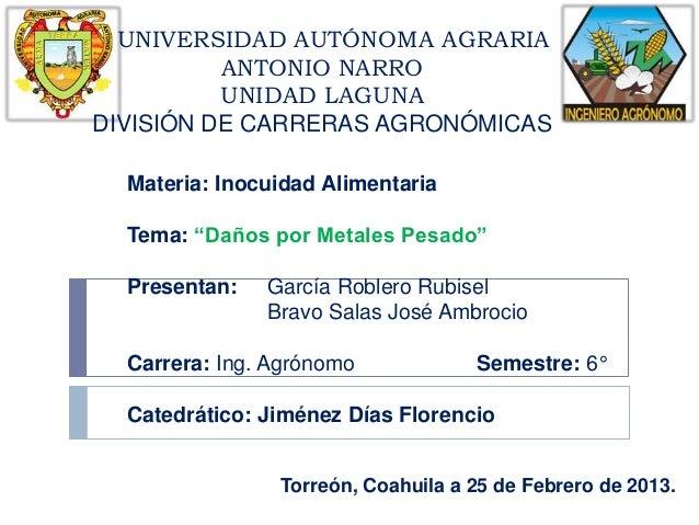 UNIVERSIDAD AUTÓNOMA AGRARIA          ANTONIO NARRO          UNIDAD LAGUNADIVISIÓN DE CARRERAS AGRONÓMICAS  Materia: Inocu...