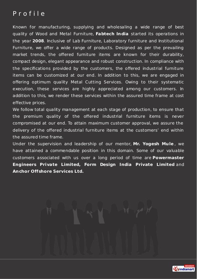 Fabtech India, India, Navi Mumbai, Industrial Furniture Slide 2