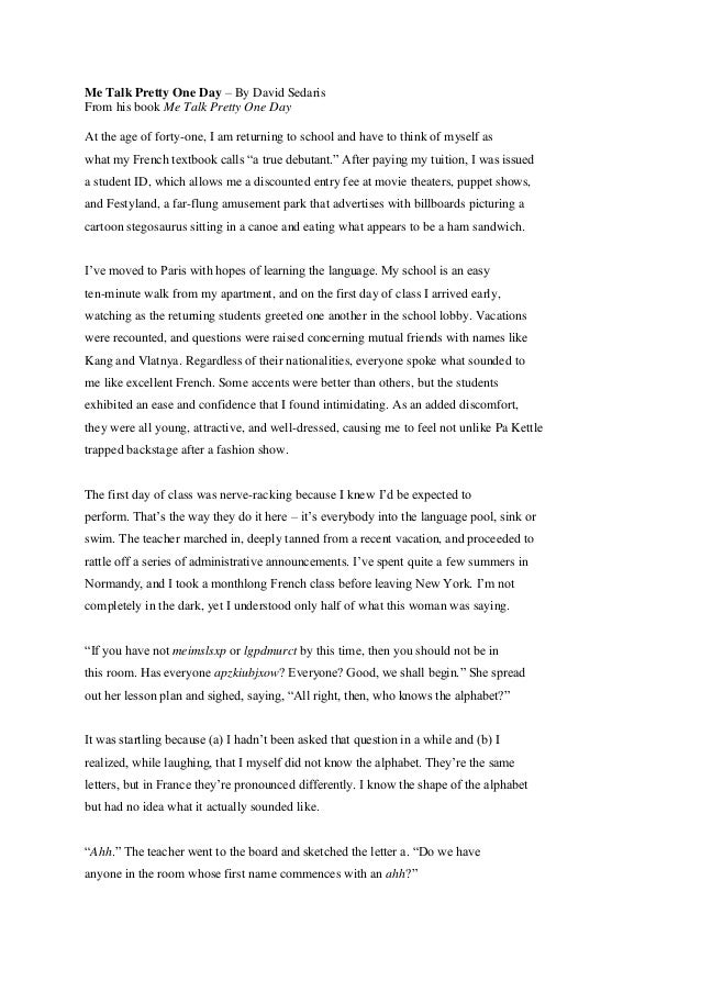 Engelsk essay me talk pretty one day