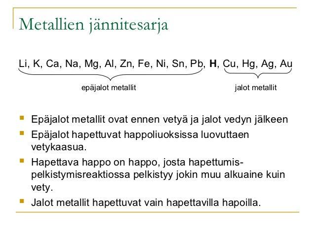 Metallien jännitesarjaLi, K, Ca, Na, Mg, Al, Zn, Fe, Ni, Sn, Pb, H, Cu, Hg, Ag, Au               epäjalot metallit        ...