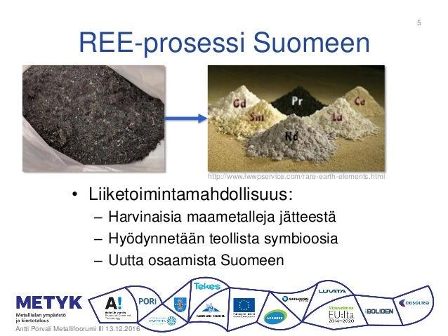 REE-prosessi Suomeen • Liiketoimintamahdollisuus: – Harvinaisia maametalleja jätteestä – Hyödynnetään teollista symbioosia...