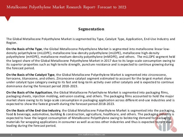 Metallocene Polyethylene Market 2018   Forecast, Size, Growth, Opport…