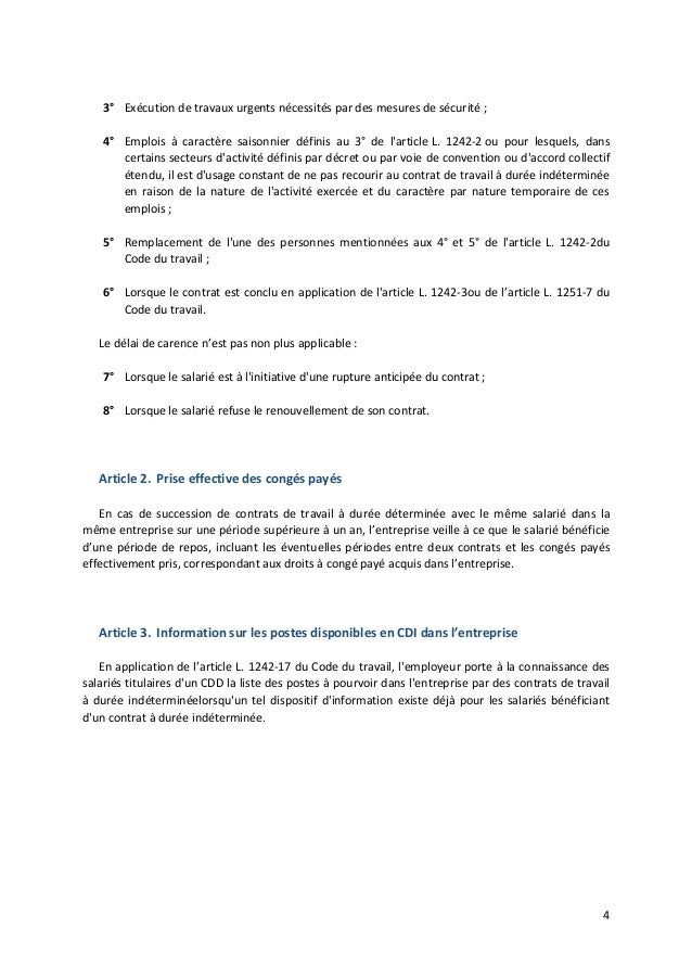 Metallurgie Accord National Cdd Et Interim