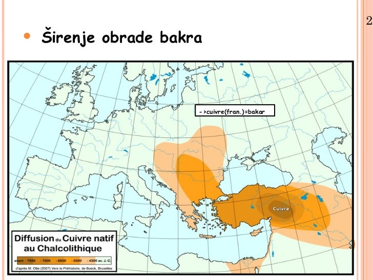 2.•   Širenje obrade bakra                       ->cuivre(fran.)=bakar