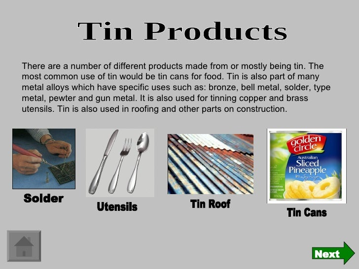 metal product display on tin