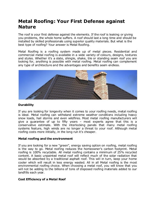 Metal Roofing Your First Defense Against Natureq