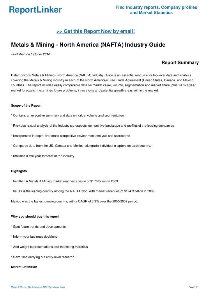 Metals Mining North America Nafta Industry Guide