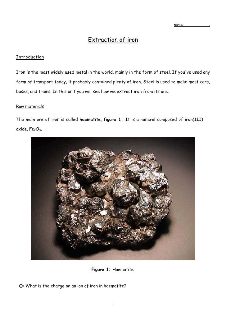 name:         .                                        Extraction of iron  Introduction   Iron is the most widely used met...