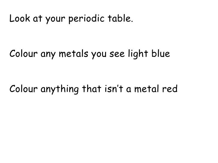 Look at your periodic table. Colour any metals you see light blue Colour anything that isn't a metal red