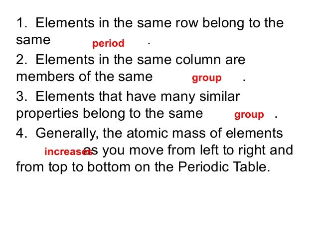 1. Elements in the same row belong to the same . period 2. Elements in the same column are group members of the same . 3. ...