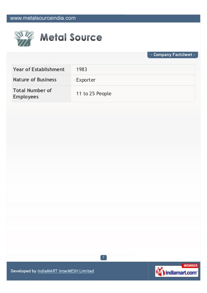 - Company Factsheet -Year of Establishment   1983Nature of Business      ExporterTotal Number of                        11...