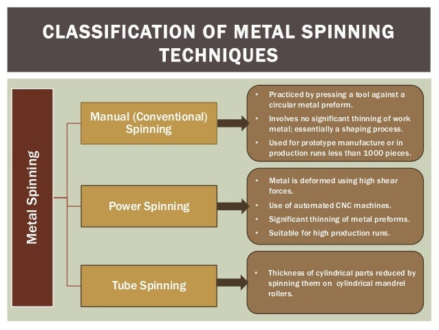 CLASSIFICATION OF METAL SPINNING TECHNIQUES •  Metal Spinning  Used for prototype manufacture or in production runs less t...
