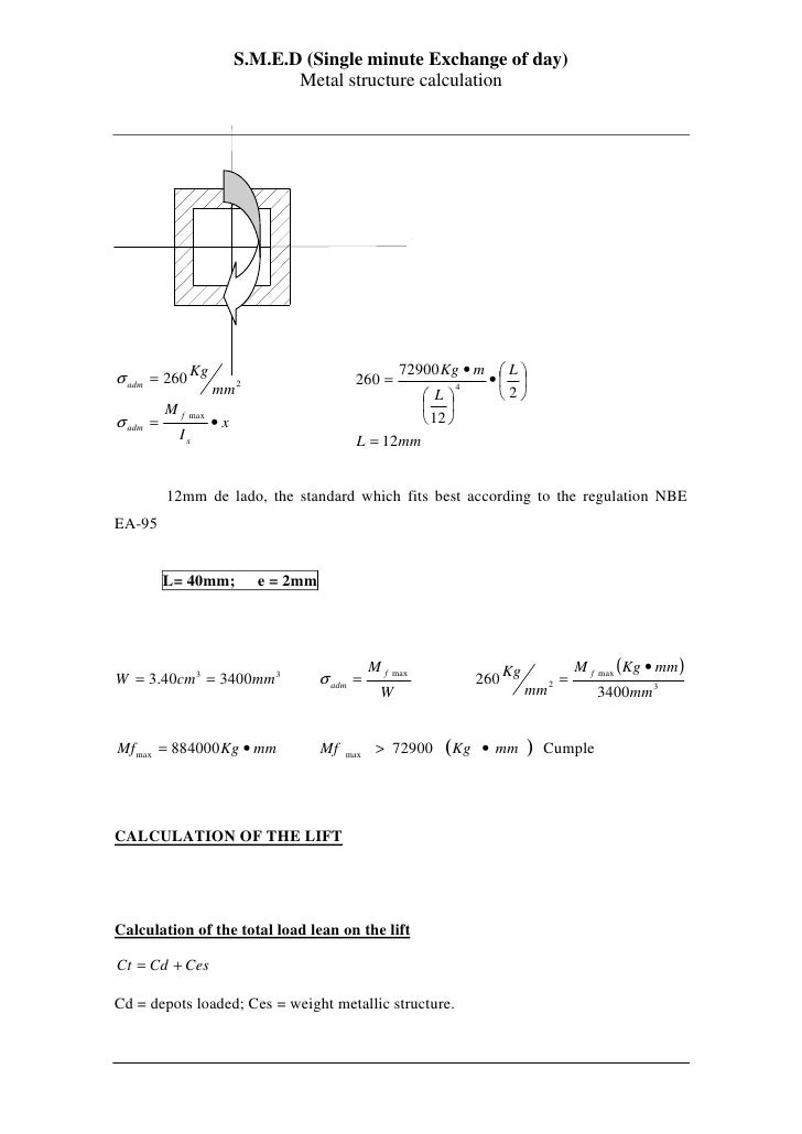S.M.E.D (Single minute Exchange of day)                                 Metal structure calculation                       ...