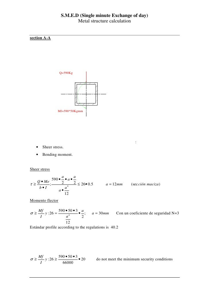 S.M.E.D (Single minute Exchange of day)                                 Metal structure calculation   section A-A         ...