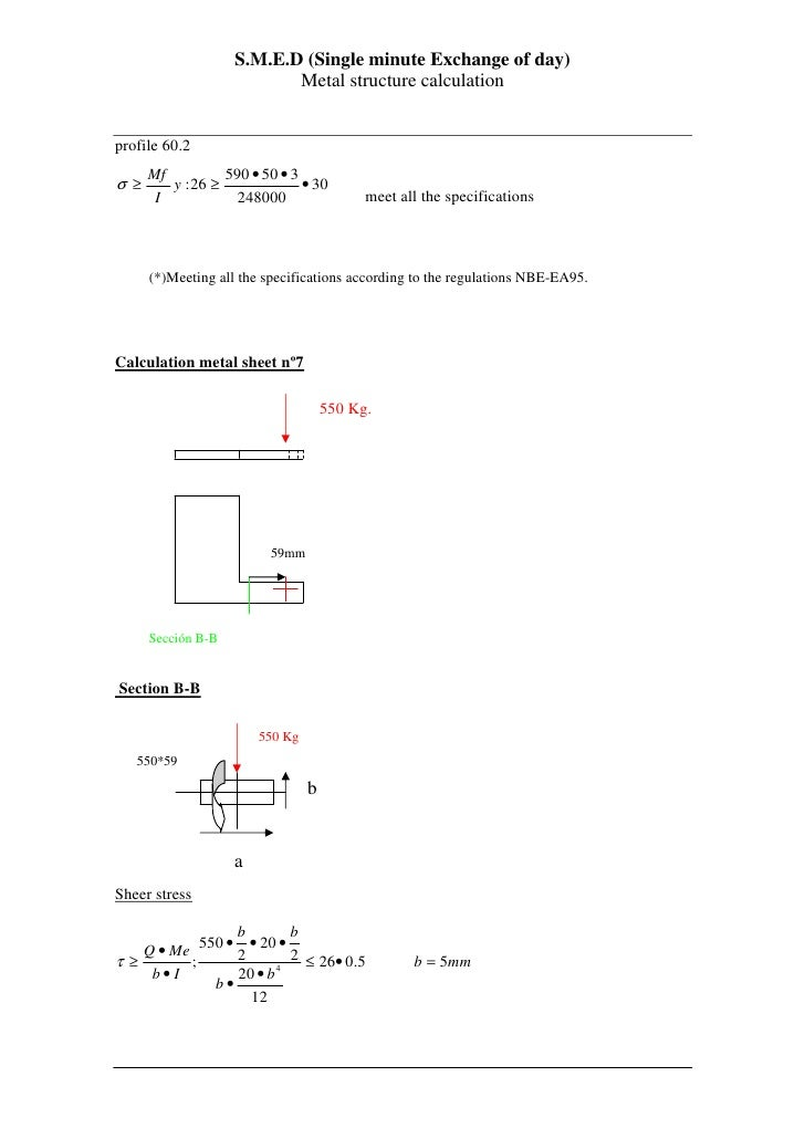 S.M.E.D (Single minute Exchange of day)                            Metal structure calculation   profile 60.2      Mf     ...