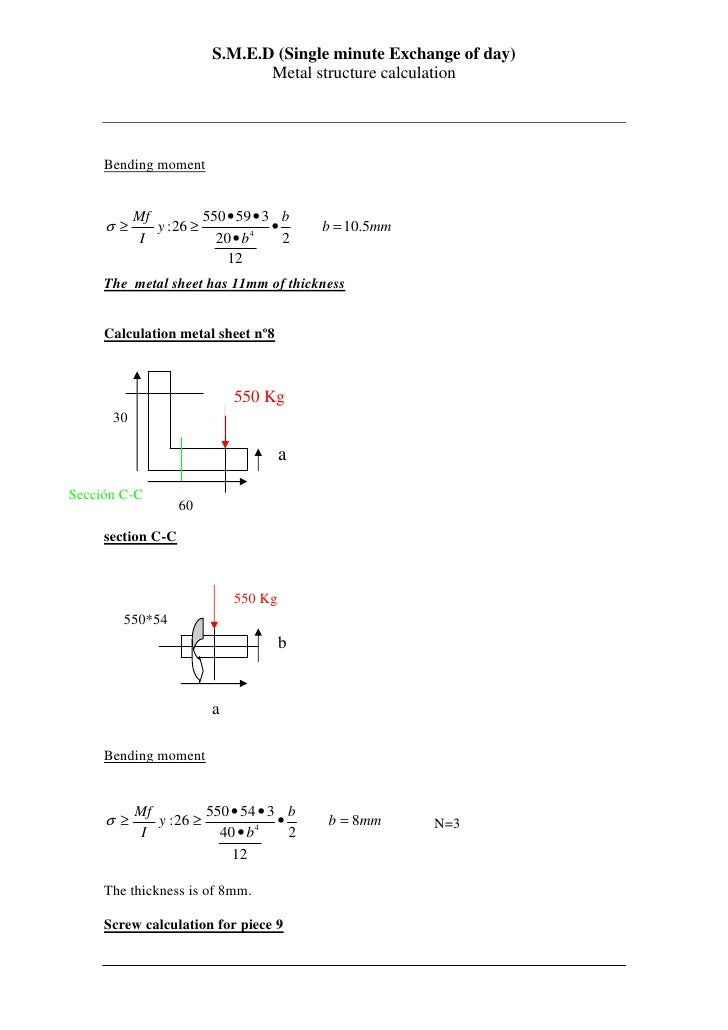 S.M.E.D (Single minute Exchange of day)                                Metal structure calculation          Bending moment...