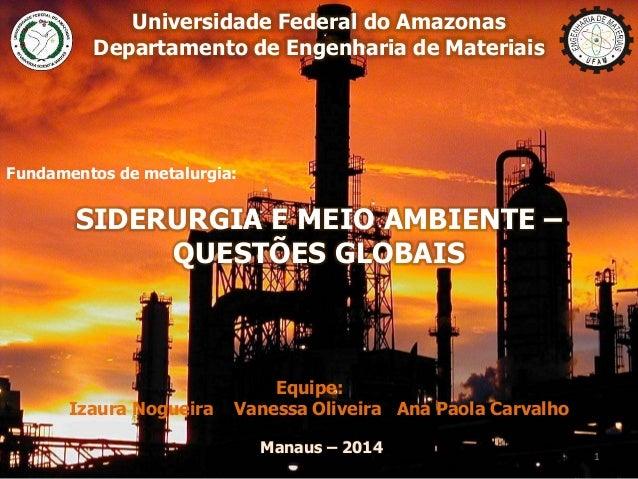 Universidade Federal do Amazonas Departamento de Engenharia de Materiais Fundamentos de metalurgia: SIDERURGIA E MEIO AMBI...