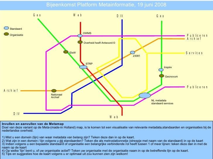 Bijeenkomst Platform Metainformatie, 19 juni 2008 Invullen en aanvullen van de Metamap Doel van deze variant op de Meta-(m...