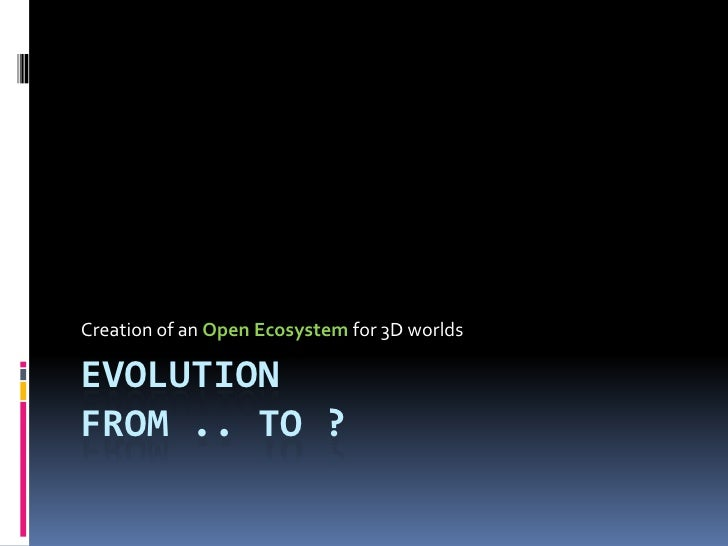 Creation of an Open Ecosystem for 3D worlds  EVOLUTION FROM .. TO ?