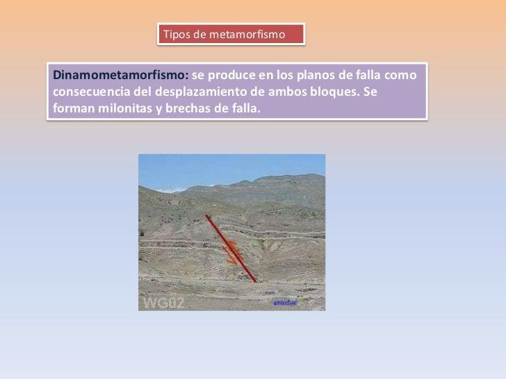 Tipos de metamorfismoDinamometamorfismo: se produce en los planos de falla comoconsecuencia del desplazamiento de ambos bl...