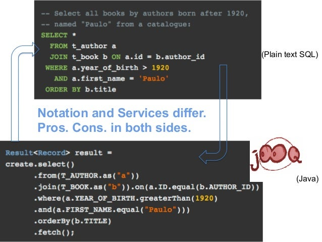 (Plain text SQL)  (Java)  Notation and Services differ.  Pros. Cons. in both sides.