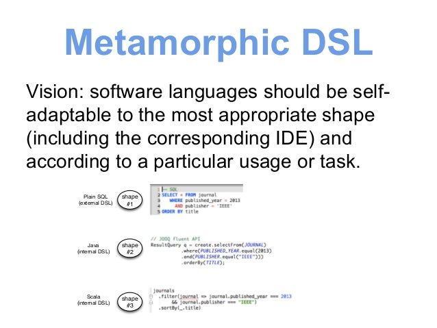 Metamorphic DSL  Vision: software languages should be self-adaptable  to the most appropriate shape  (including the corres...