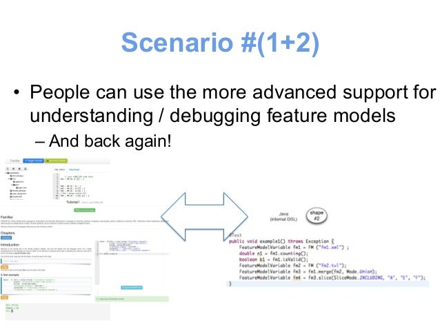 Scenario #(1+2)  • People can use the more advanced support for  understanding / debugging SQL queries  – And back again!