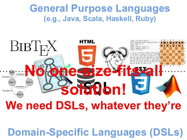 General Purpose Languages  (e.g., Java, Scala, Haskell, Ruby)  No one-size-fits-all  solution!  We need DSLs, whatever the...