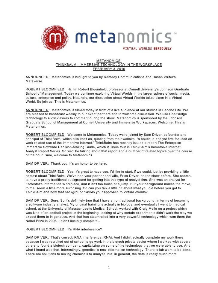 METANOMICS:                     THINKBALM - IMMERSIVE TECHNOLOGY IN THE WORKPLACE                                       FE...
