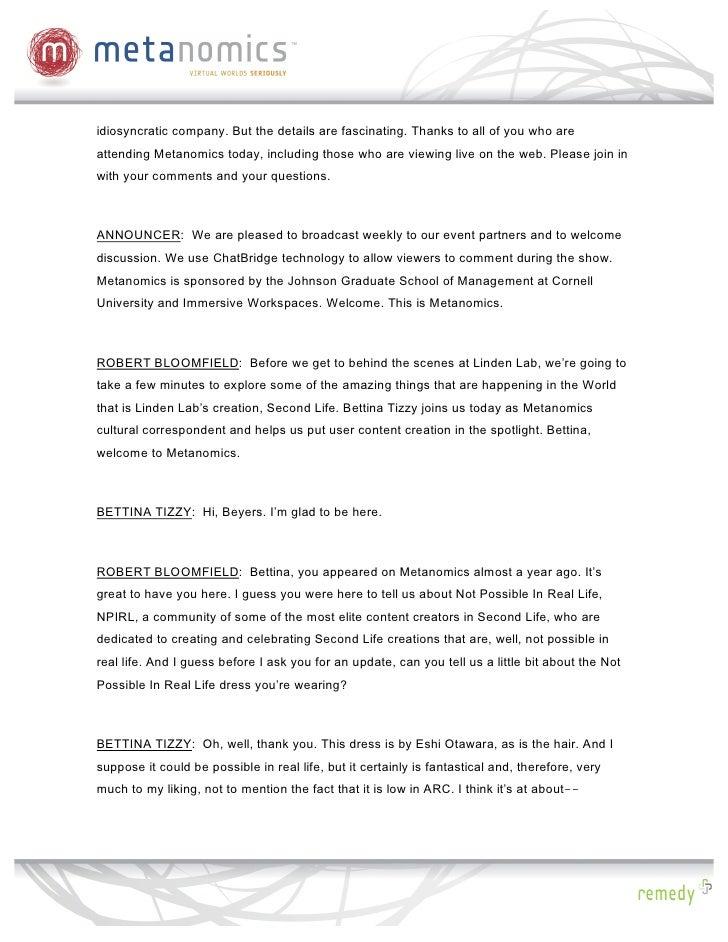Metanomics Transcript, June 3 2009, Inside Linden Lab Slide 2