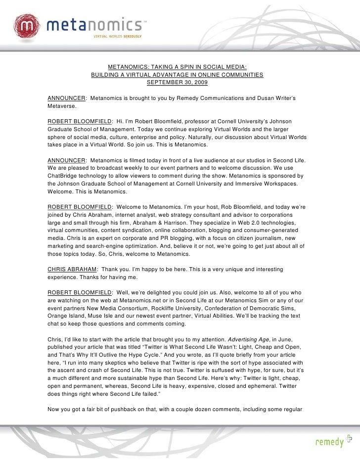 PDF: Social Media for a Spin: Metanomics Event Transcript