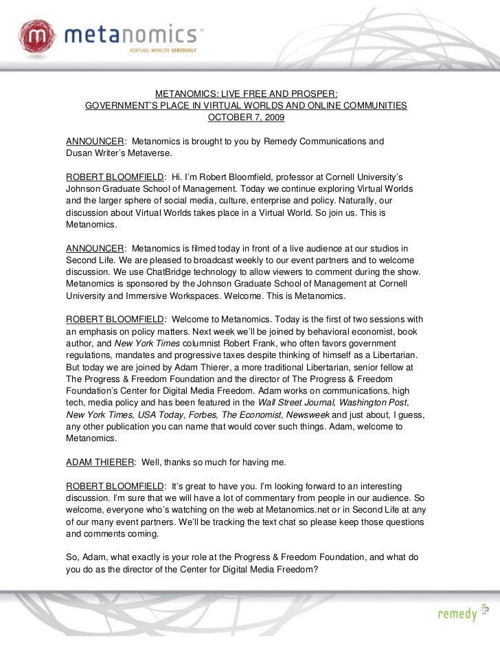 PDF: Live Free and Prosper: Metanomics Transcript October 8 2009