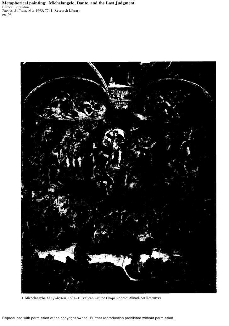 Metaphorical painting: Michelangelo, Dante, and the Last Judgment Barnes, Bernadine The Art Bulletin; Mar 1995; 77, 1; Res...