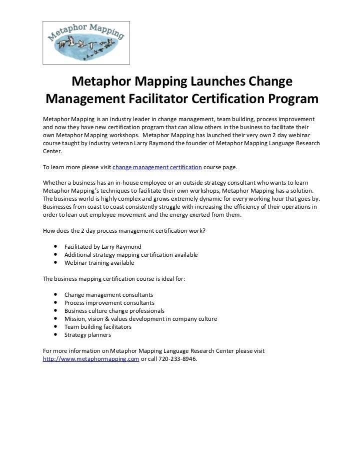 Metaphor Mapping Launches Change Management Facilitator Certification Program