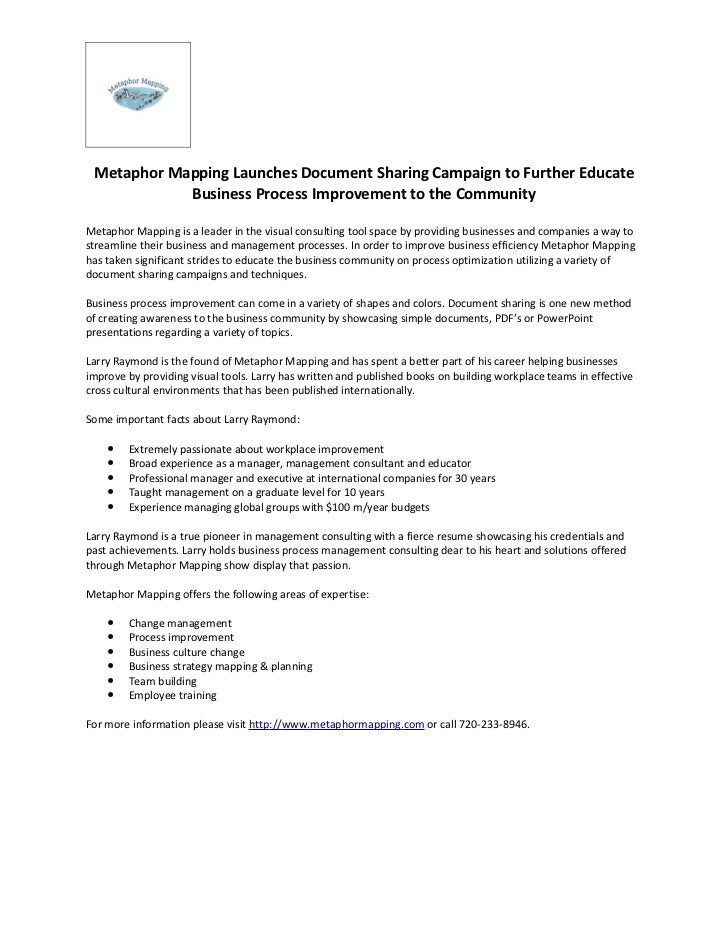 Metaphor Mapping Launches Document Sharing Campaign to Further Educate            Business Process Improvement to the Comm...