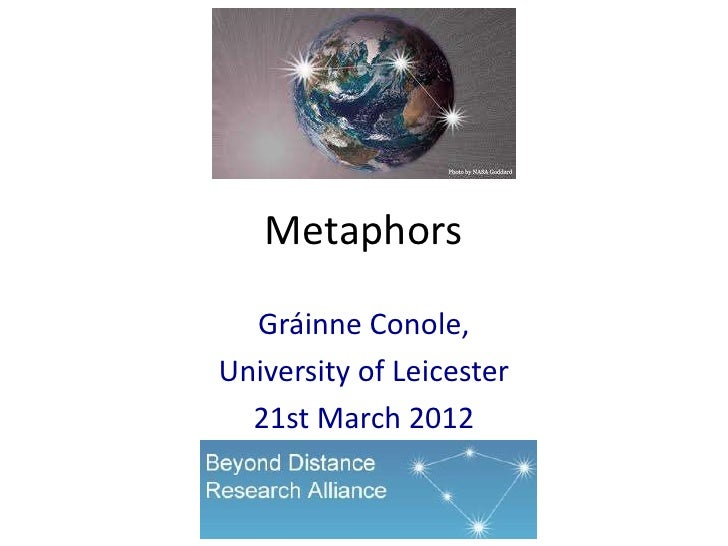 Metaphors  Gráinne Conole,University of Leicester  21st March 2012