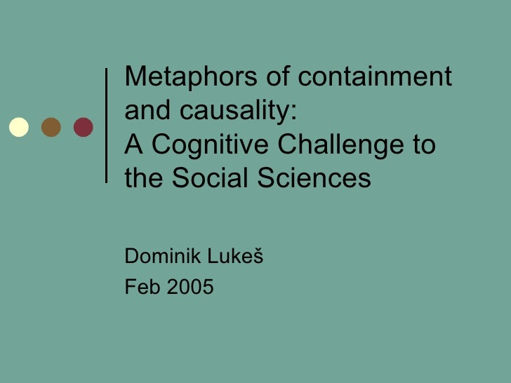 Metaphors of containment and causality:  A Cognitive Challenge to the Social Sciences Dominik Luke š Feb 2005