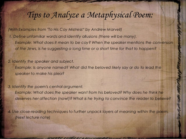 metaphysical poetry part 1