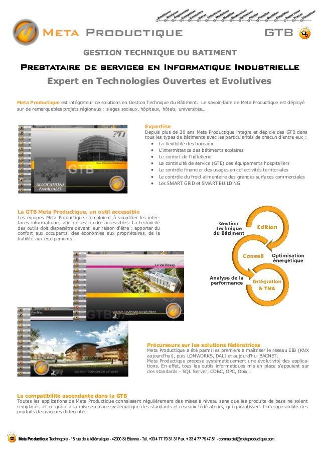 Expert en Technologies Ouvertes et Evolutives Prestataire de services en Informatique Industrielle Meta Productique Techno...