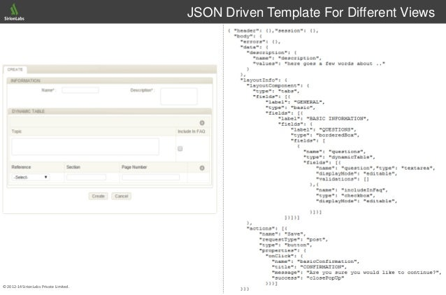14© 2012-14 SirionLabs Private Limited. JSON Driven Template For Different Views