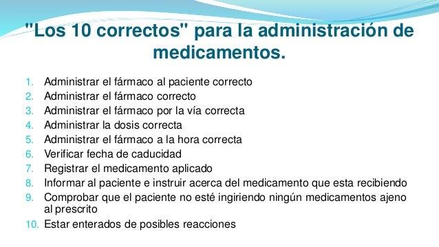 """""""Los 10 correctos"""" para la administración de medicamentos. 1. Administrar el fármaco al paciente correcto 2. Administrar e..."""
