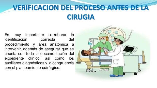 VERIFICACION DEL PROCESO ANTES DE LA CIRUGIA Es muy importante corroborar la identificación correcta del procedimiento y á...