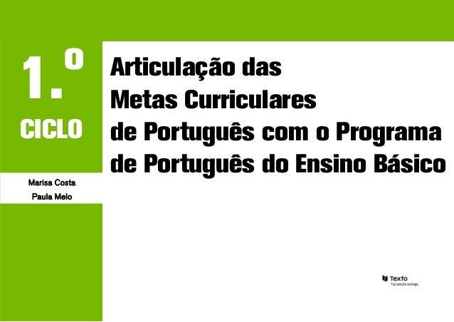 o1.             Articulação das               Metas CurricularesCICLO          de Português com o ProgramaMarisa Costa    ...